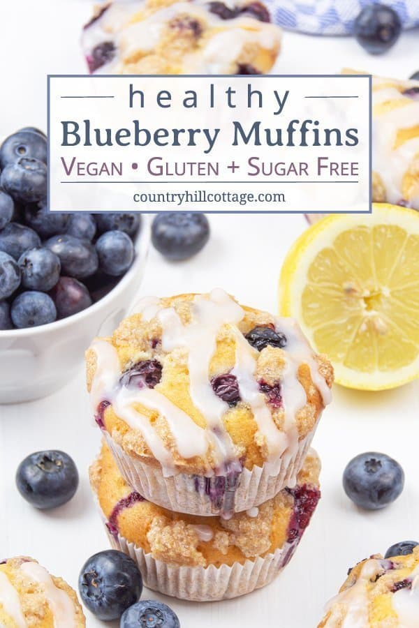 This vegan gluten-free, no sugar healthy blueberry muffins recipe is so easy & quick. The moist simple homemade eggless bakery style muffins with streusel topping are made with oil, lemon and applesauce contain no wheat, no milk, no butter, and no egg. They're nut-free, allergy-friendly & relatively low carb. The muffins are great in the mornings, and a yum treat for toddlers and kids, and perfect for clean eating. Can be frozen easily as make-ahead breakfast. #muffins | countryhillcottage.com