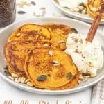 Learn how to make the best fluffy pumpkin pancakes from scratch. This healthy vegan pumpkin pancake recipe is quick and easy to make! Homemade pumpkin pancakes are super fluffy and delicious fall comfort food that's gluten free, dairy free and naturally sweetened. This vegan pancakes recipe takes just 20 minutes and is so delicious! No milk, no eggs, great for kids and toddlers. #pancakes #pumpkinpancakes #vegan #glutenfree #breakfast #fall #pumpkinspice #cleaneating | countryhillcottage.com