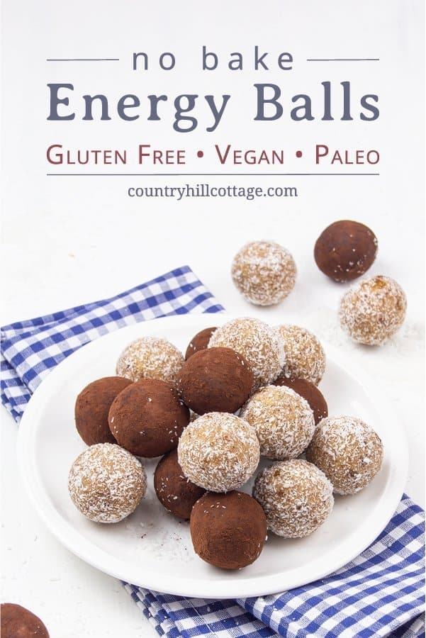 Healthy vegan no-bake energy balls are an easy snack idea and protein source. Gluten-free paleo energy bites are very-filling and provide sustained energy. Made in the food processor with dates, raw almonds & coconut, this homemade 5 ingredient energy balls recipe can be made in 15 minutes, ideal for kids, clean eating, breakfast, lunch or dessert. Can also be made with honey, oatmeal and peanut butter. Grain fee, no added sugar, dairy free. #energyballs #vegan #nobake | countryhillcottage.com