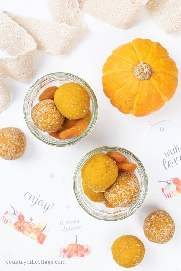 Gluten free vegan no bake pumpkin energy balls are an easy, healthy, quick & cheap homemade food gift for fall, Thanksgiving, Halloween, your friends and family, for teachers, your boyfriend, or just to say thank you. As a packaging idea, put the energy bites in a jar or cute mason jars and decorate them with our free printable labels. Tab the image & learn how to make this healthy pumpkin spice gourmet food gift idea. #foodgift #energyballs #Halloween #freeprintable | countryhillcottage.com
