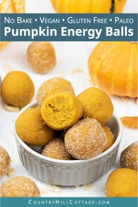 Learn how to make vegan no-bake pumpkin energy balls! Made in the food processor with canned pumpkin, pumpkin spice, raw almonds and coconut flour, this easy homemade energy bites recipe makes delicious pumpkin truffles. This quick healthy snacks recipe is gluten-free, paleo & Whole30. Ideal for kids, clean eating, breakfast, lunch or dessert. Can also be made with honey, oatmeal and peanut butter. Grain fee, no added sugar, dairy free. #energyballs #vegan #nobake #fall | countryhillcottage.com