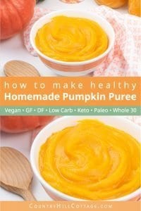 Learn how to make homemade pumpkin puree from scratch. This easy recipe shows to make delicious pureed pumpkin and how to use it for baking projects and desserts, pie, cookies, savory soup, pasta, bread or muffins. Simple healthy DIY pumpkin puree is vegan, low carb, dairy free, gluten free, nut free and suitable for clean eating, paleo, keto and Whole 30 diets. Also includes tip for uses for babies and dogs. #pumpkin #pumpkinpuree #fall #lowcarb #keto #paleo #glutenfree| countryhillcottage.com