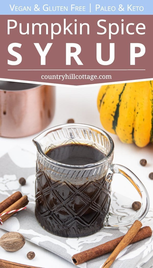 Made with real pumpkin and spices, this homemade vegan pumpkin spice syrup recipe is the perfect condiment to perk up your favourite healthy fall dessert and breakfast recipes - from pancakes and waffles to coffee & pumpkin spice latte or cocktails. This gluten free dairy free pumpkin syrup is ready in 10 minutes. Better than Dunkin Donuts or Starbucks! Sugar free Keto & Paleo option! #pumpkinspice #syrup #latte #pumpkinspicelatte #coffee #breakfast #vegan #paleo #keto | countryhillcottage.com