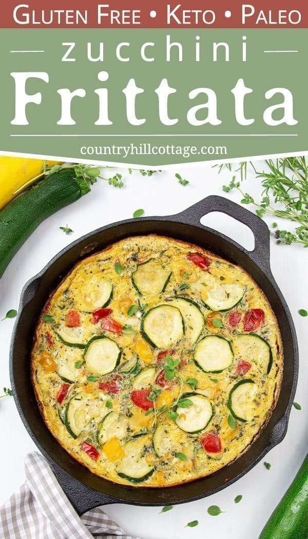 An easy one-pan zucchini frittata is a healthy vegetarian make ahead meal idea for breakfast, brunch, and midweek dinners that your family will love. Prepared in an iron cast skillet, this simple and healthy no cheese veggie frittata recipe is low carb, gluten-free, dairy-free, paleo, Keto and Whole 30 friendly. A tasty zucchini recipe perfect for clean eating! #frittata #zucchini #keto #paleo #glutenfree #cleaneating #vegetarian #whole30 #breakfast #dairyfree #lowcarb | countryhillcottage.com