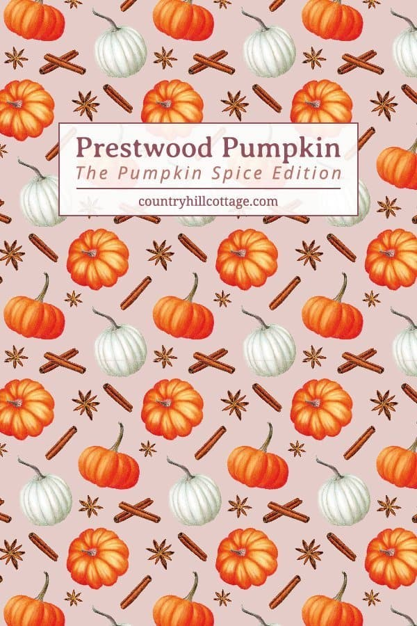 The pumpkin spice inspired version of our Prestwood Pumpkin print features cinnamon sticks and anise stars. A beautiful Cinderella pumpkin, a quintessential fall motive, became the central part of the design, accompanied by a classic orange pumpkin and a pretty white pumpkin. #autumn #surfacepattern #printdesign #Britishdesign | countryhillcottage.com