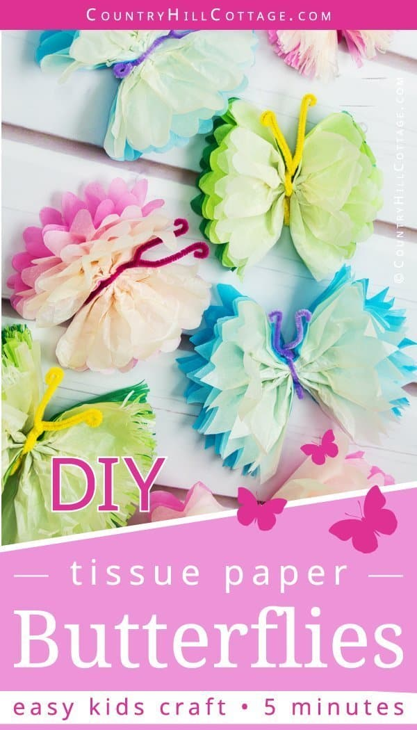 Engage your kids with fun craft activities! Tissue paper butterflies are an easy tissue paper crafts idea for kids. This simple DIY is made with colourful paper and pipe cleaners and it only takes 5 minutes to create a butterfly. The butterflies can be used a pretty wall ornament to decorate a room or as party décor. The instructions are easy to follow and include a step-by-step video tutorial. #papercrafts #tissuepaper #DIY #kidscrafts #homedecor| countryhillcottage.com