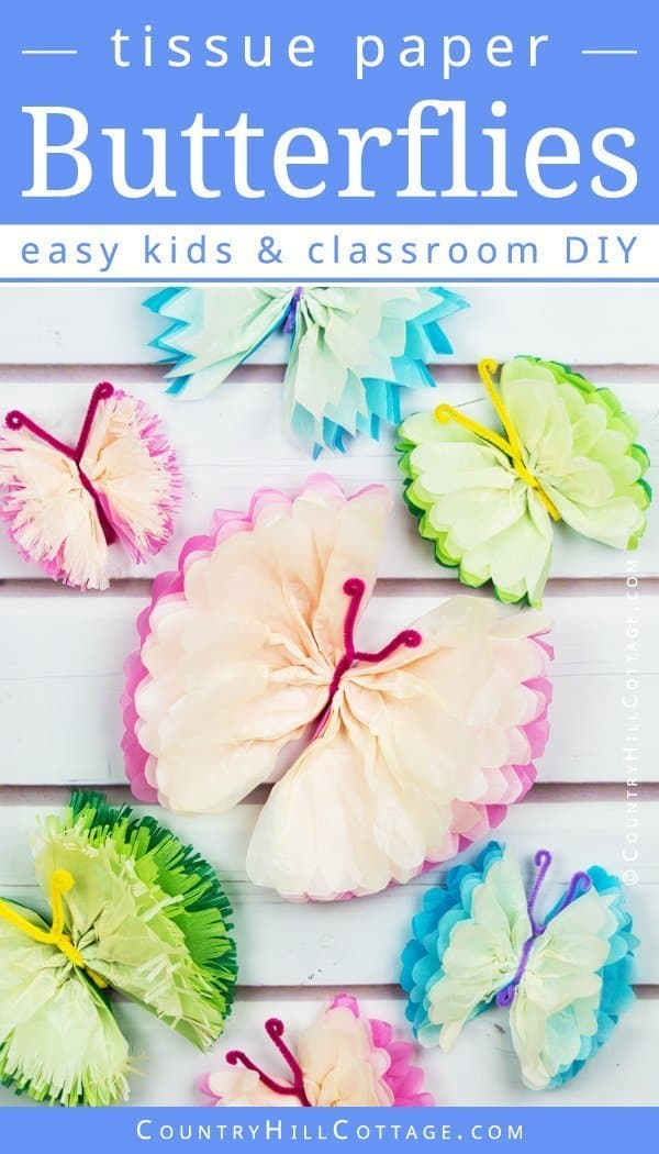 Looking for fun classroom ideas and projects to make? Tissue paper butterflies are an easy school crafts idea for kids that will give students a sense of accomplishment. This DIY is made with inexpensive materials and quick to create, It's great for children in preschool, primary, or elementary school, as well as summer camp. The instructions are easy to follow and include a step-by-step video tutorial. #schoolcrafts #backtoschool #artproject #papercrafts #tissuepaper | countryhillcottage.com