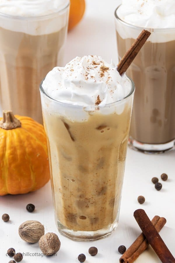 Iced pumpkin spice latte recipe is creamy and oh-so-delicious! Learn how to make easy pumpkin spice latte at home in 5 minutes. This DIY healthy skinny low carb coffee drink tastes yummy hot and cold. You never guess this homemade vegan latte recipe is sugar free & dairy free. Includes options for paleo, iced, no coffee & without puree. #pumpkinspicelatte #iced #icedcoffee #dairyfree #veganlatte #latte | countryhillcottage.com