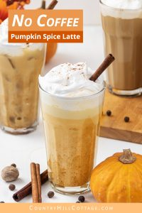 No coffee pumpkin spice latte recipe is creamy and oh-so-delicious! Learn how to make easy pumpkin spice latte without coffee or espresso. This DIY healthy skinny low carb latte drink tastes yummy hot and cold. You never guess this homemade vegan latte recipe is sugar free & dairy free. Includes options for paleo, iced, no coffee & without puree. #pumpkinspicelatte #vegan #keto #ketodiet #dairyfree #veganlatte #latte #paleo | countryhillcottage.com