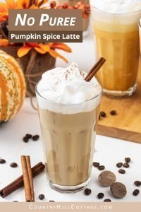 No puree pumpkin spice latte recipe is creamy and oh-so-delicious! Learn how to make easy pumpkin spice latte without pumpkin puree. This DIY healthy skinny low carb coffee drink tastes yummy hot and cold. You never guess this homemade vegan latte recipe is sugar free & dairy free. Includes options for paleo, iced & no coffee & without puree. Ketogenic no sugar latte is better than Starbucks! #pumpkinspicelatte #vegan #dairyfree #veganlatte #latte | countryhillcottage.com
