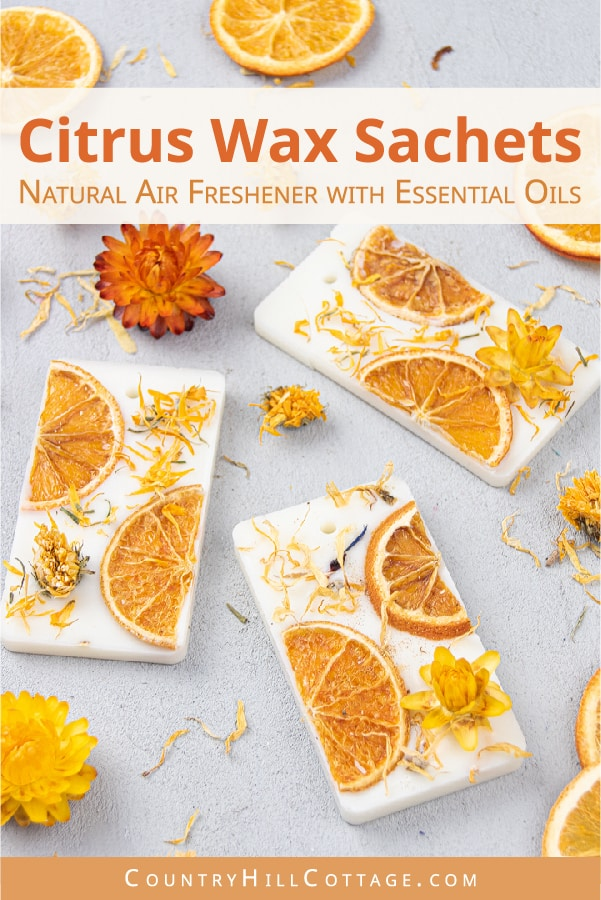 How to make a DIY Natural Citrus Air Freshener Sachets with grapefruit, lemon, lime, orange essential oils and soy wax. Easy homemade room deodorizer is a long lasting odor eliminator to fragrance closets, drawers and other small spaces. The recipe makes cute Christmas gifts, home decoration, wedding favor or souvenir. With tips for uses, where to put, and printable gift tags for packaging. #airfreshener #waxsachet #scentedsachet #homefragrance #essentialoils #gifts | countryhillcottage.com