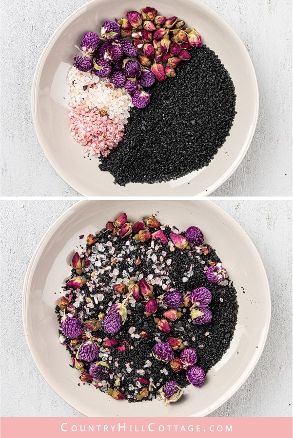How to make DIY pink herbal detox bath salts recipe with natural organic ingredients like black salt, Himalayan salt and essential oil scented. A relaxing activated charcoal bath is great for detox and cleansing, relaxation, stress relief, sinus and sore muscles. Includes packaging/container tips and free printable labels for holiday gifts, wedding favors, Christmas or Mothers Day. Make it in bulk to sell. #diybathsalts #bathsalts #detox #wellness #bathritual #herbal | countryhillcottage.com