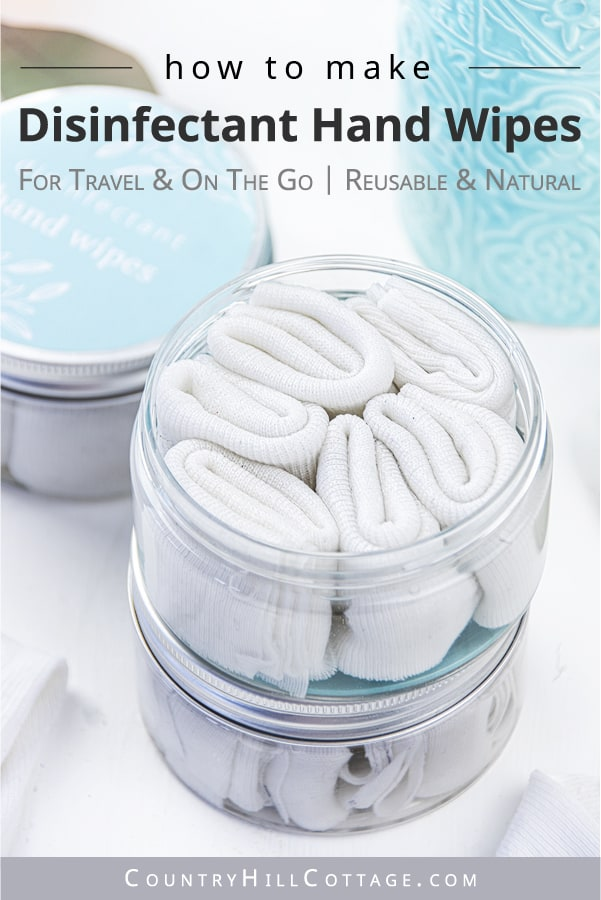 How to make easy DIY hand sanitizer wipes! The homemade antibacterial wipes recipe is made with natural organic ingredients (vodka, aloe vera, essential oils) and reusable wipes. Use the portable mini disinfectant hand wipes with alcohol for travel or when hand washing isn't possible. Cute gift or baby shower favor. Disinfecting wipes are good for kids and classroom uses. With printable labels for the dispenser and packaging the container. #handsanitizer #essentialoils | countryhillcottage.com