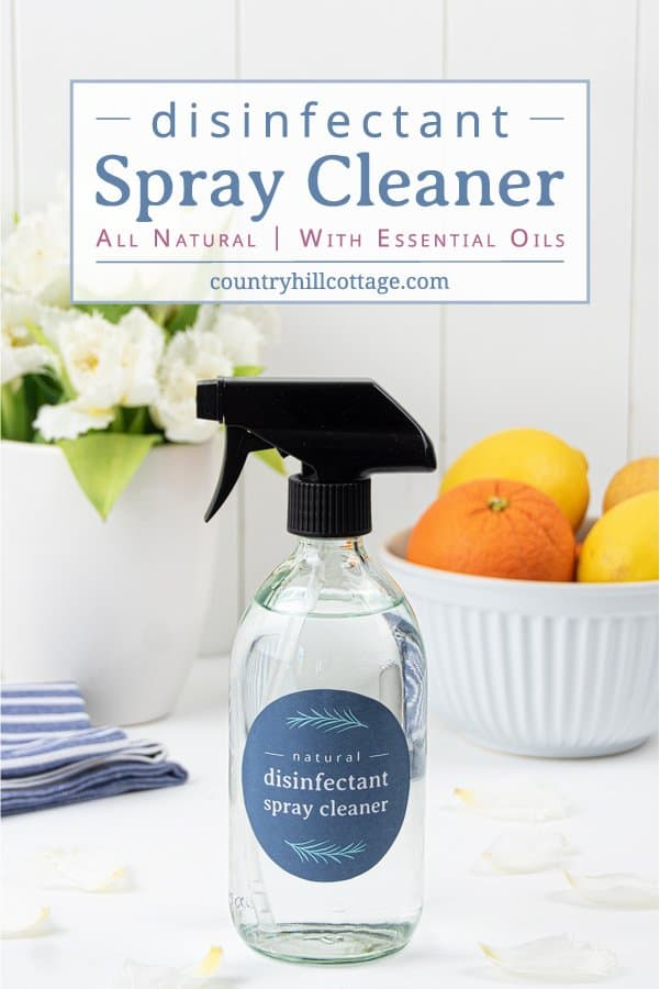 See how to make an easy DIY disinfectant spray with essential oils without harsh chemicals of other household cleaners. This vinegar-free homemade disinfectant spray recipe helps to fight harmful germs in you home. The natural DIY Lysol disinfecting spray is suitable for kitchen, bathroom, surfaces, furniture, bed, fabric, toys, safe for babies. Can be made with rubbing alcohol, vodka and peroxide. Includes free printable labels for packaging. #cleaning #essentialoils | countryhillcottage.com