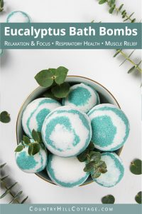 This easy homemade eucalyptus bath bombs recipe looks pretty in water and is very relaxing, perfect for at home wellness! Pretty fizzy essential oil bath bombs without cornstarch are beneficial to relieve respiratory problems, sinus congestion and headaches, and to soothe sore muscles and joints. See how to make simple natural aromatherapy bath bombs with eucalyptus, learn about packaging and storage tips and other essential oil scents ideas like lavender, lemon or peppermint. Great for kids and men. #bathbombs #eucalyptus #aromatherapy #essentialoils   countryhillcottage.com