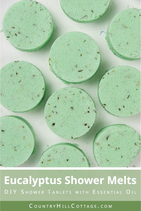 See how to make and how to use easy DIY eucalyptus shower bombs! This simple relaxing homemade essential oil shower melts recipe is natural shower aromatherapy for colds, for congestion, sinus, headache and stress relief. The decongestant eucalyptus shower tablets are made with baking soda, cornstarch and clay to be long lasting. Like Vicks vapor rub shower disks Suitable for kids and men, great Christmas gift! #showermelts #showersteamers #showerbombs #showertablets | countryhillcottage.com