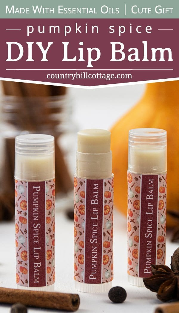 Learn how to make an easy natural DIY pumpkin spice lip balm. The moisturizing and healing lip balm recipe is made with hydrating shea butter, organic beeswax, cocoa and mango butter. The homemade Chapstick is made in the microwave with plumping cinnamon and flavored with essential oils. The step-by-step tutorial includes labels for packaging the containers or tubes. Great for kids, winter and a lovely gift for Christmas. #lipbalm #essentialoils #pumpkinspice #fall | countryhillcottage.com