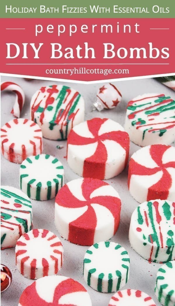 See how to make DIY peppermint bath bombs with essential oils! You learn how to make an easy homemade candy cane essential oil blend and tricks to paint the bath fizzies with mica for pretty bath fizzies! This easy Christmas bath bomb recipe looks and smells very festive and is an excellent handmade bath gift idea for the holiday season. Great for kids. With storage tips, packaging ideas and printable gift tags. #peppermint #bathbombs #Christmas #gift #essentialoils| countryhillcottage.com
