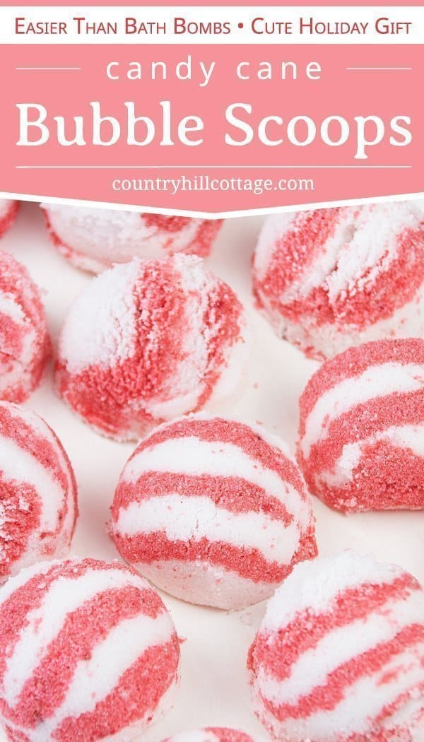 Learn how to make DIY peppermint bubble scoops for Christmas! Made with essential oils, citric acid, baking soda, moisturizing coconut oil and an ice cream scoop, these DIY bath truffles soften the skin and create long-lasting bubbles. This solid bubble bar recipe is easier to make than bath bombs and a great homemade holiday bath spa gifts. Tutorial with step-by-step instructions and packaging ideas. #bubblescoop #bathtruffle #bathbomb #bubblebar #essentialoils #gift | countryhillcottage.com