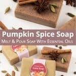 See how to make a moisturizing DIY pumpkin spice soap! This easy homemade soap recipe is a melt and pour soap with essential oils and vitamin E. The natural soap can be made with a goat's milk or a shea butter soap base if vegan. This handmade fall soap is scented like pumpkin spice latte, a great handmade gift for autumn and Christmas. The simple tutorial includes free printable for packaging. #soap #meltandpour #essentialoils #pumpkinspice #fallsoap #soaprecipe #fall | countryhillcottage.com
