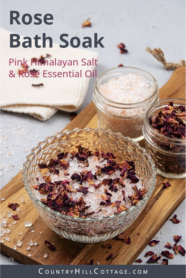 How to make and how to use relaxing DIY rose bath salts with essential oil and pink Himalayan sea salt. Homemade calming luxury floral bath soak has many skincare benefits, great for sore muscles. The easy natural organic herbal home made recipe includes gift packaging ideas, printable labels as decoration, tips for the best products, display, storage in jar or containers. Can be made with detox Epsom salt and lavender, great for Christmas and kids. #bathsalts #bathsoak | countryhillcottage.com