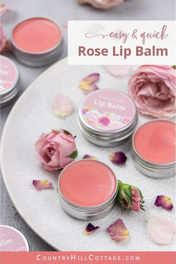 How to make DIY tinted rose lip balm is made with moisturizing beeswax, coconut oil and essential oil! The best homemade luxury lip balm is cute gift idea and great for kids. The home made organic natural chapstick recipe has a soft texture, comes with printable labels with a floral design for tubes or containers, tips for storage and packaging. Can be made vegan and shea butter, other flavours like vanilla or another color. #lipbalm #gift #essentialoils #lipbalmlabel | countryhillcottage.com