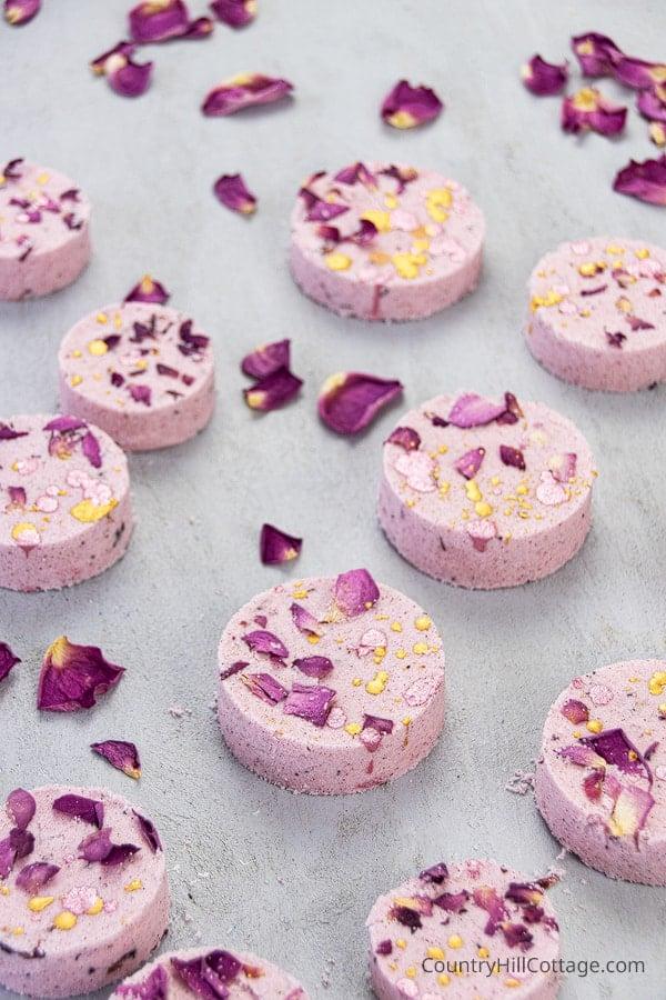 Homemade bath bomb recipe with rose petals