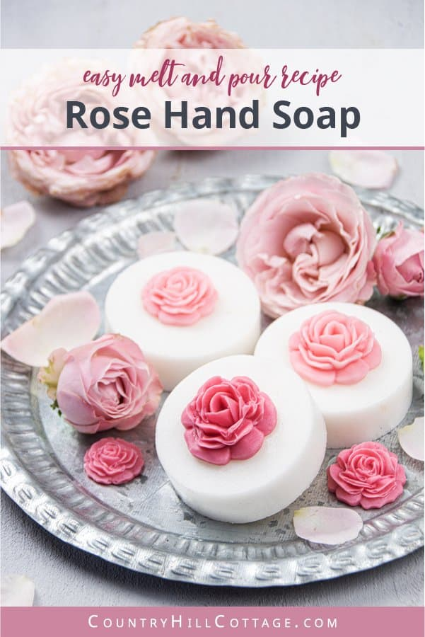 See how to make a easy DIY rose soap recipe! It's ready within minutes. All of the comfort of a melt and pour soap recipe, without the fuss. Plus, your rose hand soap looks stunning! Handmade soap has many benefits and is a great gift or favors. Scented with essential oil the soap smells like a flower bouquet, the pretty simple design is made with a mold and rose petal decor. Come with printable labels, packaging tips and more home made gift ideas. #soap #meltandpour | countryhillcottage.com