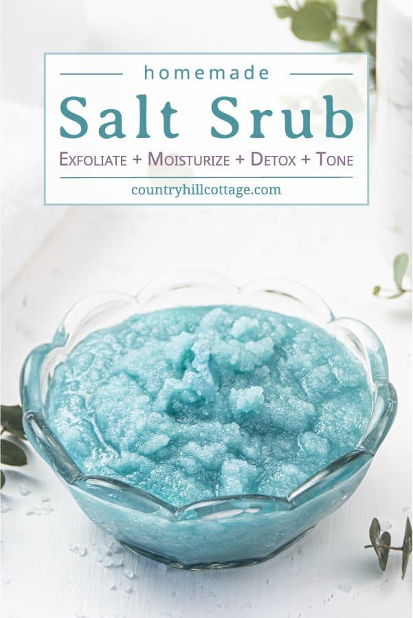How to make easy homemade sea salt scrub for glowing skin, hands, body, foot! The best natural exfoliating DIY salt scrub recipe is made with organic moisturizing coconut oil and lemon lime essential oils has many skin care benefits and can be made with Epsom, pink Himalayan or dead sea salt. With tips for vs sugar scrub, how to store and use body scrub, packaging ideas and printable labels. Make your own Lush Ocean Salts beauty products at home. #bodyscrub #saltscrub   countryhillcottage.com