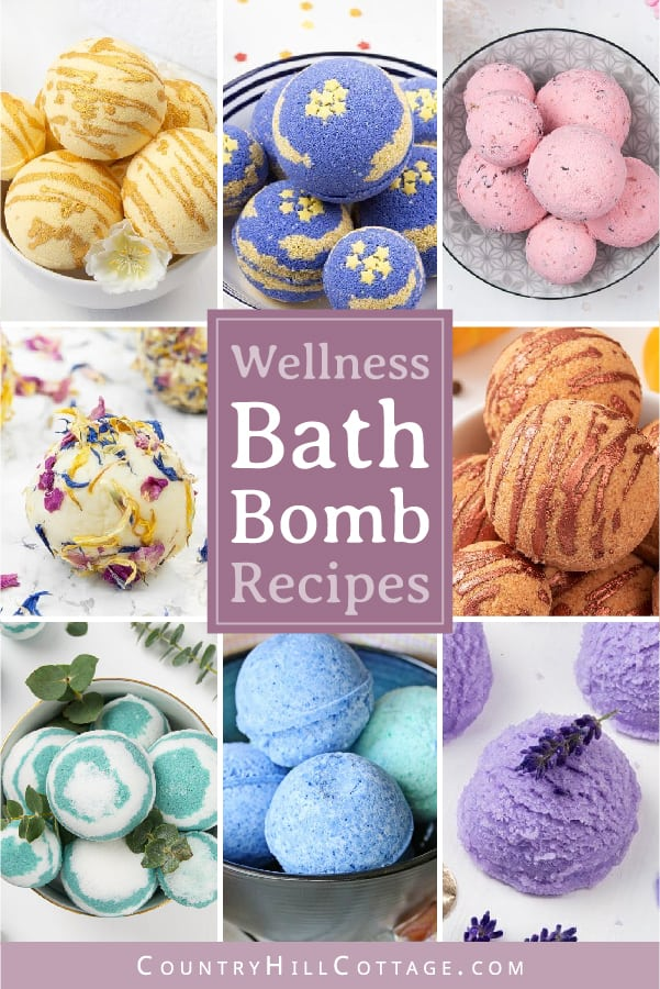Learn how to make easy DIY bath bombs recipe (better than Lush)! Bath bomb making is a lot of fun for kids and adults alike. Natural homemade bath bombs with essential oils without cornstarch are perfect for relaxation, wellness, sleep, anxiety, a spa day at home, a spa night at home. Included are moisturizing bath bombs with shea butter, foaming lavender bubble scoops, Epsom salt detox bath bombs, fizzy Himalayan salt bombs. #bathfizzy #bathbomb #DIYbeauty #DIYBath | countryhillcottage.com