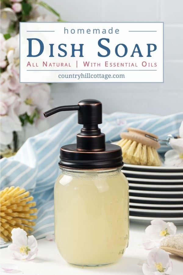See how to make your own DIY dish wash like Dawn without castile soap or borax! The homemade foaming dish soap recipe is made with all natural ingredients, Dr Bronners Sal Suds, vinegar and Thieves essential oils. The bets simple non-toxic dish cleaner cuts through grease. The liquid detergent is also eco friendly and biodegradable, perfect for sustainable, zero waste green cleaning! Includes tips for kitchen dispenser and how to thicken. #dishsoap #greencleaning #natural | countryhillcottage