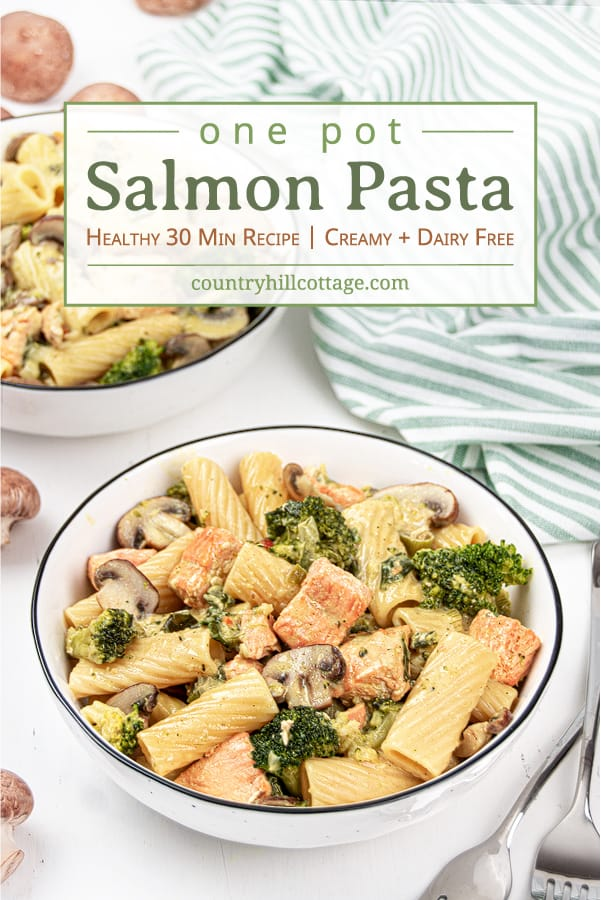 Easy salmon pasta with broccoli and mushrooms