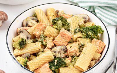 Easy Salmon Pasta One Pot Recipe {Dairy Free, Gluten Free}