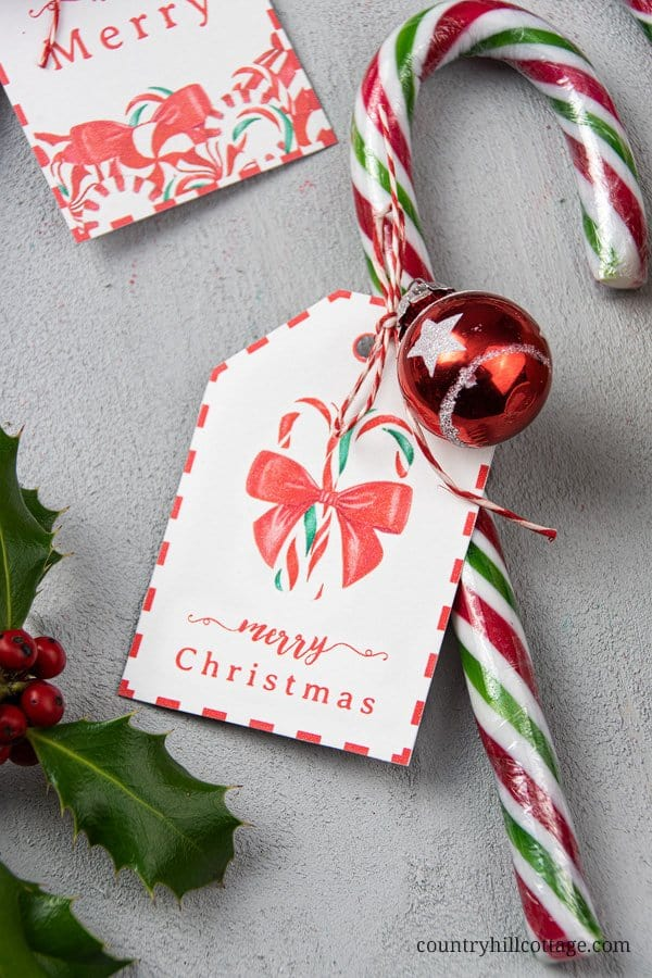 Super easy DIY candy change gift idea! It takes one than a 1 minute to decorate a candy cane with twine and a free printable holiday gift tag. This simple and affordable handmade holiday gift ideas is great for teachers, the mailman, helpful neighbors, study groups, coworkers, or anyone difficult to shop for and an easy craft idea for teachers and kids. Tab for the printable Christmas gift tags. #candycane #candycanegifts #gifttag #holidaygift #christmasgifts #gift | countryhillcottage.com