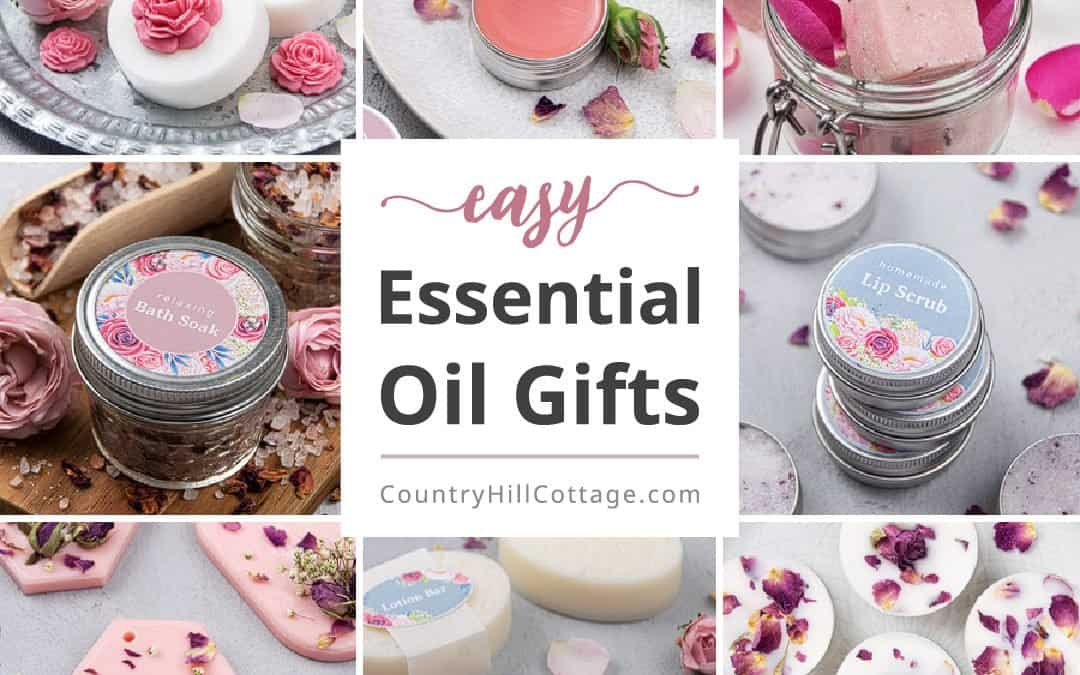 Easy Essential Oil Gifts for Essential Oil Gift Basket + Printable Labels