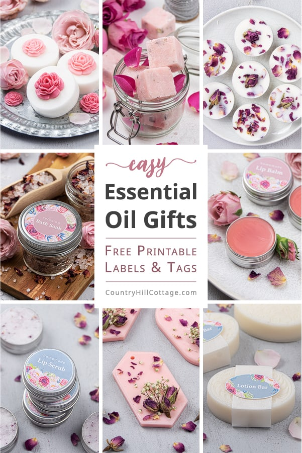 Learn how to make 8 easy essential oil gifts and create a beautiful essential oil gift basket, box or set. Each DIY takes 5 minutes or less for each homemade essential oil recipes! With simple ideas for home made soap, lotion bars, sugar scrub cubes, lip balm, lip scrub, a bath soak, wax melts, air freshener and packaging. Great handmade gifts for friends, teachers, mothers day, kids, Christmas, and holiday. #essentialoils # gift #giftgiving #printablelabels #giftbasket | countryhillcottage.com
