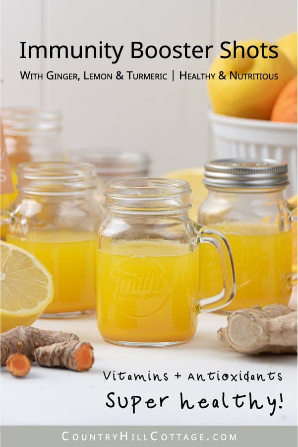 See how to make ginger shots that Selena Gomez would love! Packed with health benefits, the easy homemade immunity booster shots are good for your immune system, a cold, flu, hangover detox and weight loss! The vitamin-rich DIY juice shot recipe is made with ginger, turmeric, lemon, orange and honey to make the heathy drink kid-friendly. Can be made in a blender without juicer. Comes with labels for packaging in bottles. #gingershots #superfood #ginger #turmeric #lemon | countryhillcottage.com