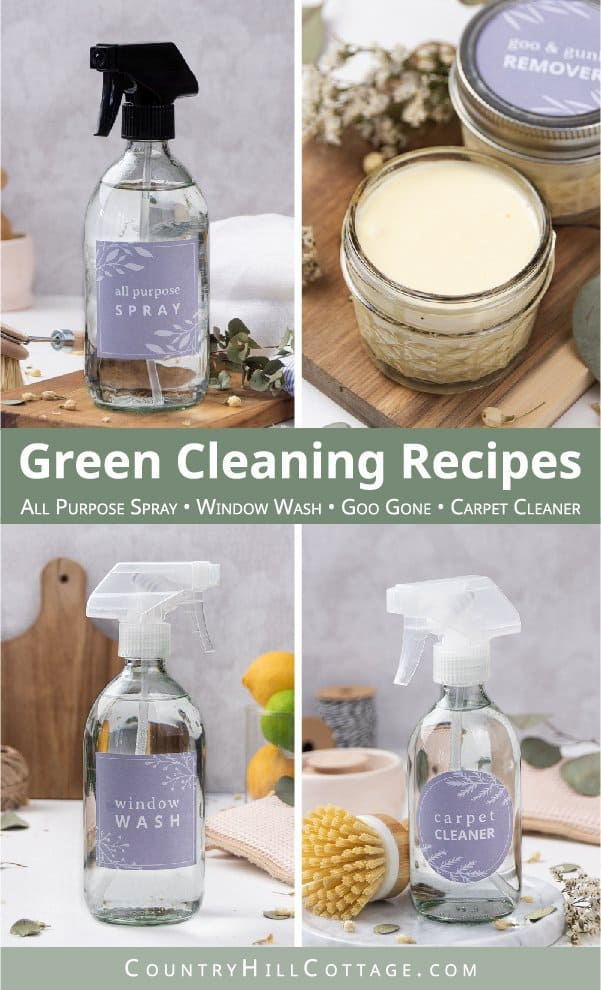Learn 4 simple natural cleaning recipes with Sal Suds, including a homemade all-purpose spray, DIY glass cleaner, goo remover and carpet cleaner! The homemade cleaning products are eco-friendly, bio-degradable, zero waste, non toxic. The DIY cleaners work on different surfaces including the bath room & kitchen, stainless steel, granite counter tops, oven, wood floors, tiles, carpets and more. Includes tips for uses, essential oils, supplies and cleaning hacks. #cleaning | countryhillcottage.com