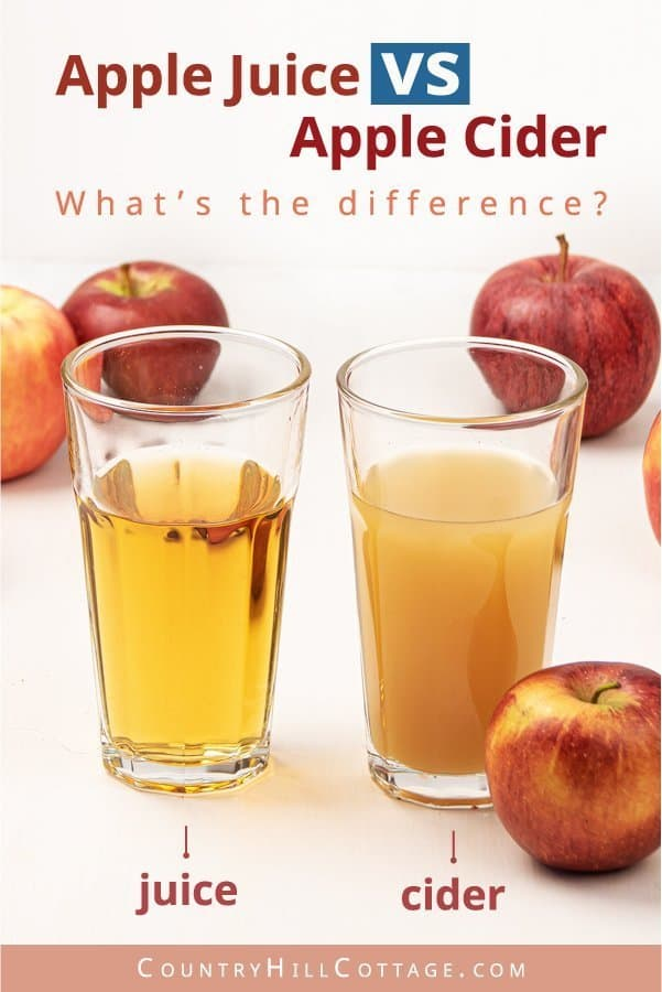 Apple juice vs apple cider – What is the difference between apple cider and apple juice? Apple cider is an unsweetened, unfiltered, non-alcoholic apple drink that is opaque or cloudy in colour and still contains some fruit pulp. Apple juice, on the other hand, is an apple beverage, which has been heated and filtered, giving it a clear, darker colour and sweeter taste. #cider #applecider #mulledcider #falldrink #appledrink | countryhillcottage.com