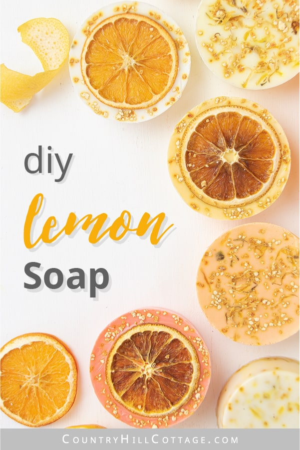 This homemade lemon soap recipe has an uplifting scent, rich lather and many skin care benefits. Natural DIY lemon soap bars are made with goat milk, shea butter or glycerin melt and pour base and essential oils - ideal for soap making for beginners! The handmade tutorial shows how to make melt and pour soap, gives different citrus essential oil blends for soap, tips for molds, packaging ideas and more recipes inspiration. Cute hand soap teacher gift! #soap #soapmaking | countryhillcottage.com