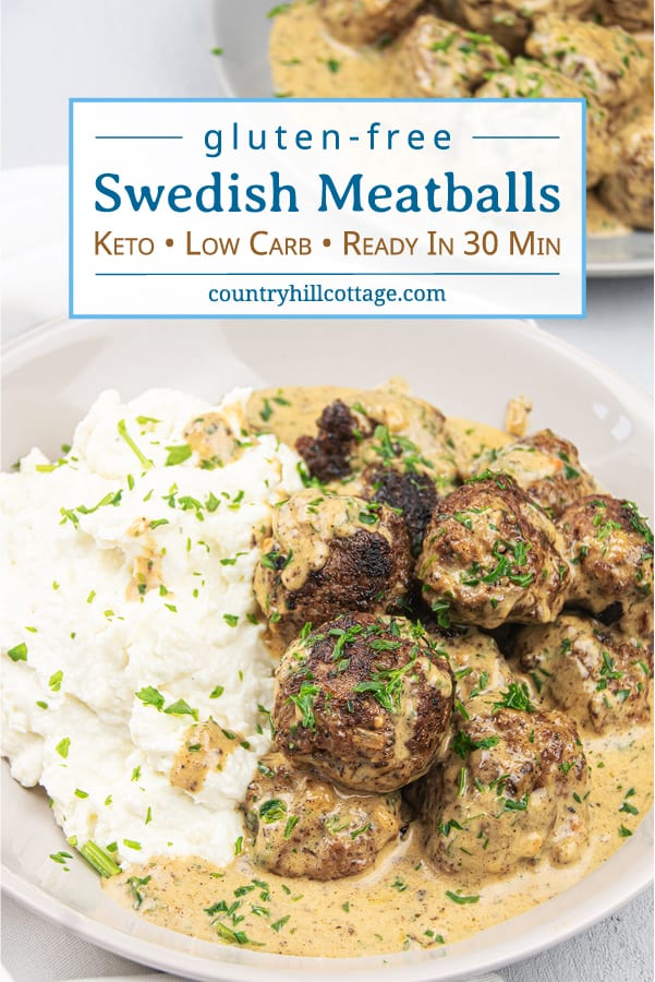 How to make healthy gluten-free Swedish meatballs from scratch! Light low carb stovetop meatballs in creamy gravy sauce are a quick easy family meal dinner, tastes authentic and traditional. The Ikea copycat homemade Keto meatball recipe is great for a crowd, as appetizer, and the freezer. Can me made with beef, pork, turkey or chicken. What to serve with: zucchini noodles, pasta, cauliflower mash or rice as side dishes. #meatballs #Swedishmeatballs #keto #glutenfree | countryhillcottage.com