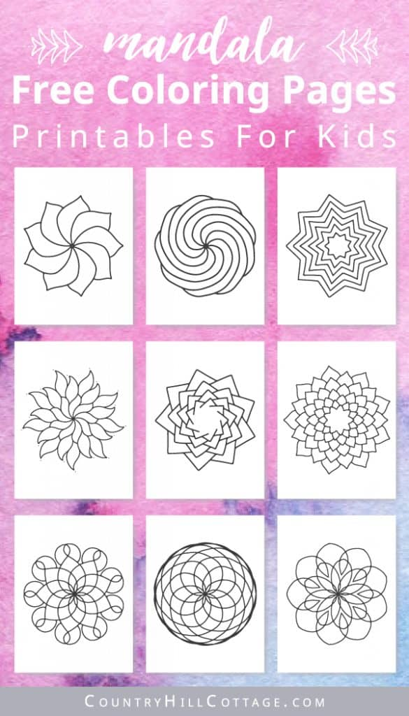 Download free printable mandala coloring pages for kids! Educational free coloring worksheets are the perfect easy kid's craft project and mindful indoor activity for a rainy day. The easy mandala coloring pages include 10 coloring worksheets with simple and advanced floral, abstract, stained glass, geometric designs. Great for learning, teachers, kindergarten, preschool and school. Crafts for kids, rainy day activities, easy crafts for kids #coloringpages #printable | countryhillcottage.com