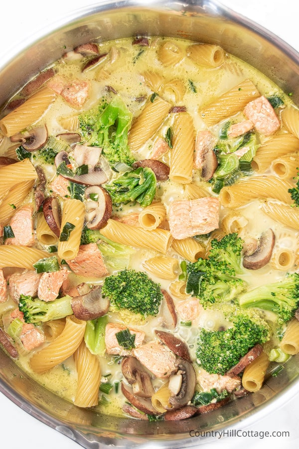 Dairy free one pot pasta with salmon cooking in a pot
