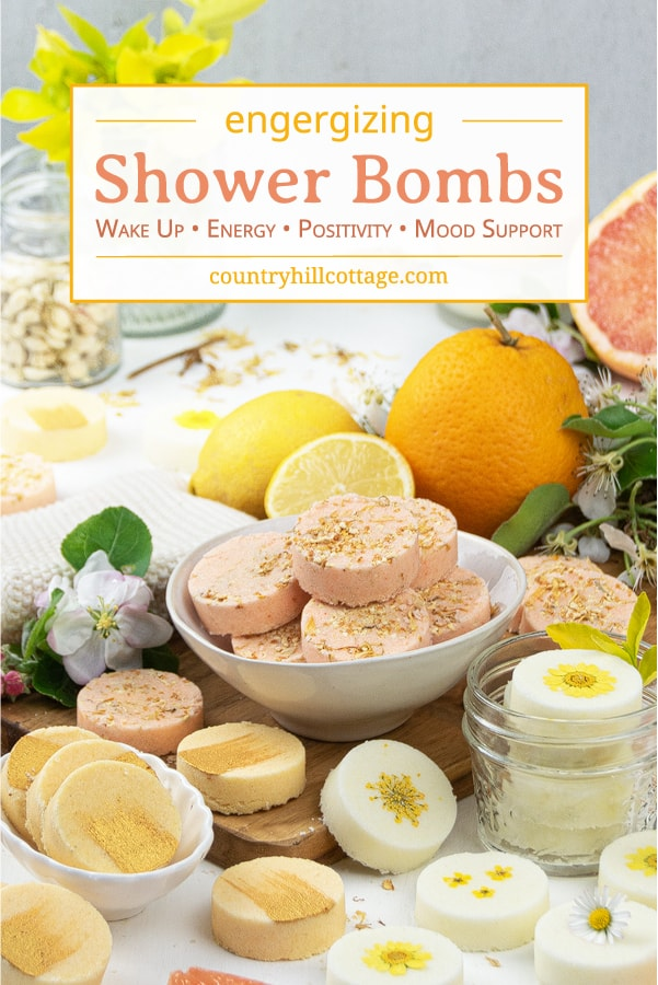 Easy shower bombs recipe! See how to make natural DIY shower steamers with citric acid, baking soda, corn starch and peppermint essential oils! Relaxing aromatherapy shower melts provide decongestant relief for colds, sinus congestion, hangover and headache. The simple homemade bath product tutorial includes tips for how to use, herbal shower steamers without citric acid, packaging. Can be made with Young Living and Doterra EO. #showerbombs #showersteamer #showermelts | countryhillcottage.com