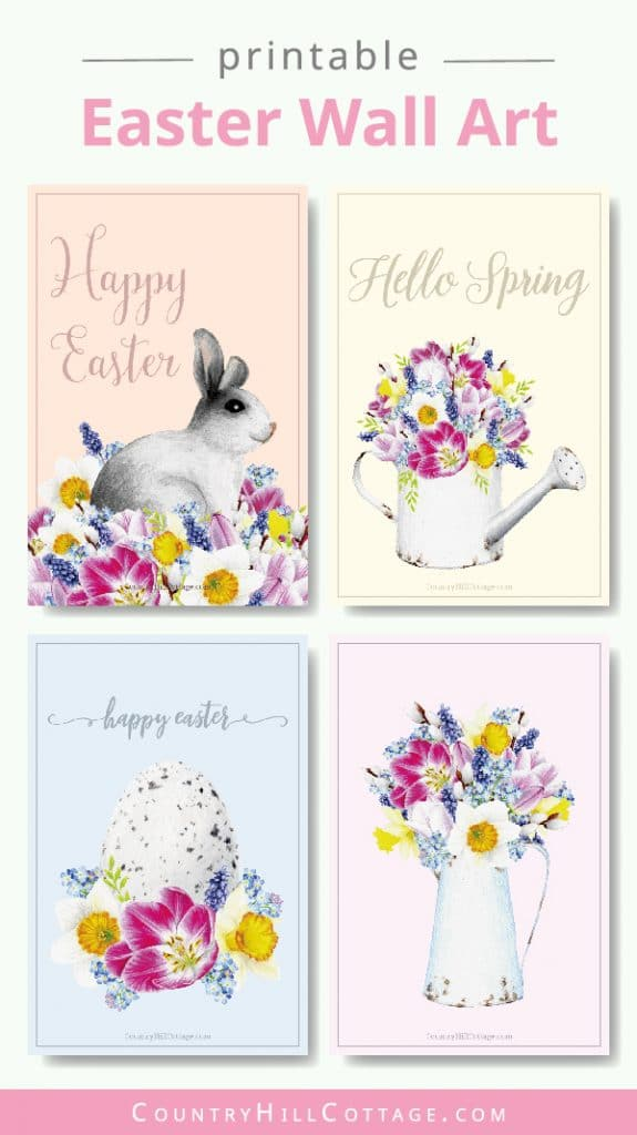 Free Easter printables! The printable spring decorations include happy Easter wall art, quotes and sayings, Easter cards, Easter tags. The design shows vintage inspired aquarelle aesthetic drawings on modern pastel backgrounds. The illustration pictures include flowers, a rabbit/bunny, egg and rustic farmhouse decor. An easy DIY crafts idea for decorating, gifts, baskets, to send greetings, for kindergarten, preschool and school #Easter #printables #homedecor #wallart | countryhillcottage.com