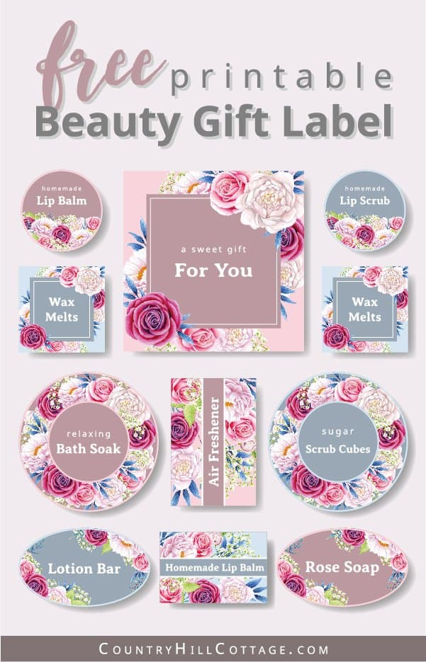 Download free printable essential oil gift tags and labels for gift wrapping bath and body gifts in style. The floral design are great for DIY beauty gift and homemade home fragrance ideas, like soap, wax melts, lip balm, lib scrub, sugar scrub, wax melts, perfect to create a handmade gift basket. The printable PDF comes with packaging tips and 8 easy essential oil gift ideas, perfect to say thank you, friends or wedding favors. #printables #giftwrapping #label #tags | countryhillcottage.com