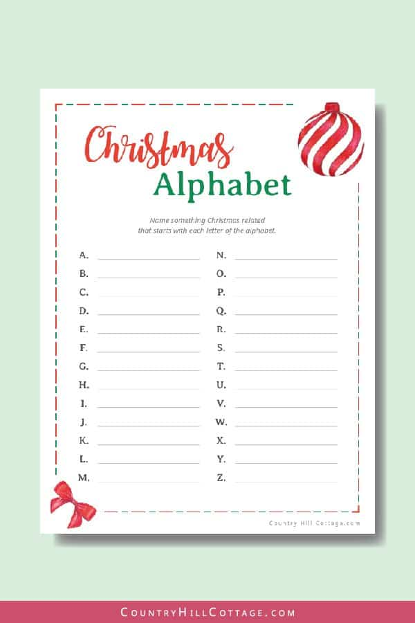 Free printable Christmas alphabet game. The A – Z game is great for kids activities, classroom and holiday parties. Download a collection of 6 free printable Christmas games! The holiday party games are a fun holiday activity for family get-togethers, Christmas parties, the office and for older students at school. The bundle includes holiday bingo, scattergories, word scramble and movie trivia game. #printable #freeprintable #holiday #Christmas #games #Christmasgames | countryhillcottage.com