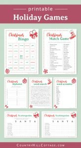 Download a collection of 6 free printable Christmas games for adults and kids! The holiday party games are a fun holiday activity for family get-togethers, Christmas parties, the office and for older students at school. The printable game bundle includes holiday bingo, scattergories, a festive word scramble, word search, a fun movie trivia game, and a holiday alphabet. Movie trivia game. With answers. #printable #freeprintable #holiday #Christmas #games #Christmasgames | countryhillcottage.com