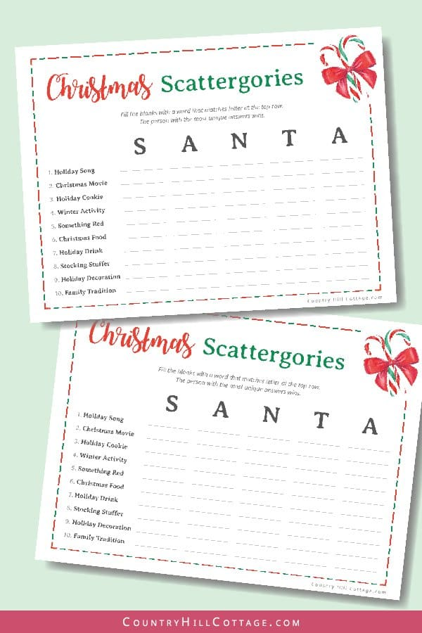 Free printable Christmas scattergories lists game. A fun printable game for holiday parties. Download a collection of 6 free printable Christmas games! The holiday party games are a fun holiday activity for family get-togethers, Christmas parties, the office and school. The bundle includes bingo, word scramble, word search, movie trivia and a holiday alphabet. #scattergories #Christmasscattergories #printable #freeprintable #holiday #Christmas #games #Christmasgames | countryhillcottage.com