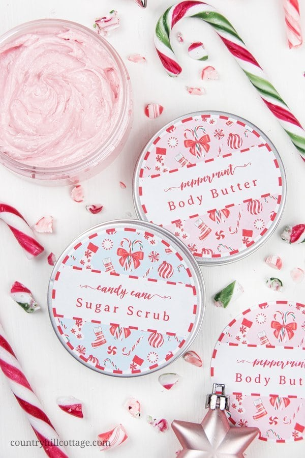 Download free printable labels and gift tags for DIY candy cane body butter and homemade peppermint body butter. These beauty products make a lovely candy cane gift for Christmas and the holiday season. The natural beauty recipes are made with essential oils and skin-loving ingredients. These easy homemade presents are a great gift idea for women, girls, mother, neighbors and skincare addicts. #holidaygift #christmasgift #diygift #printables #printablelabel #gift | countryhillcottage.com